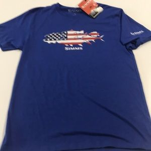 Simms Shirts - 🆕 SIMMS Fishing Mens Blue USA Flag Shirt